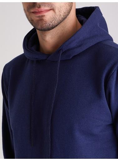 Dufy Zümrüt Yeşılı Kapüşonlu Kanguru Ceplı Erkek Sweatshırt - Slım Fıt İndigo
